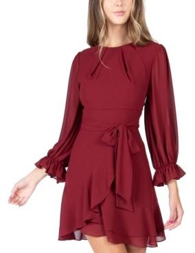 B. Darlin Juniors' Asymmetrical-Ruffle A-line Dress