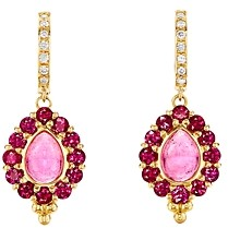 Temple St. Clair 18K Yellow Gold Theory Pink Tourmaline, Ruby & Diamond Drop Earrings