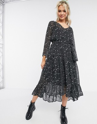 JDY midi dress with high low hem in star print
