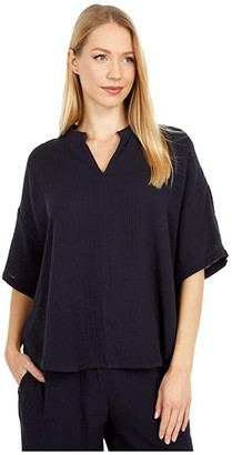 Eileen Fisher Stand Collar Elbow Sleeve Top (Ink) Women's Clothing