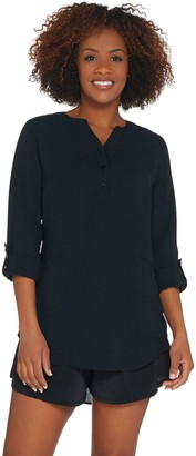 Denim & Co. Beach Roll-Tab Sleeve Woven Cover-Up with Pockets