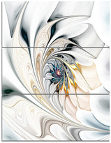 """Design Art Usa """"White Stained Glass Floral Art"""" Wall Art Canvas, 3 Panels, 28""""x36"""""""