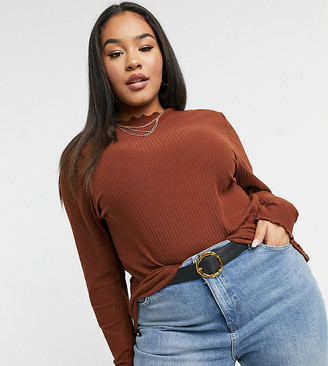 Only Curve ribbed long sleeve top in brown