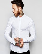 Asos Skinny Shirt With Wing Collar And Long Sleeves