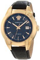 Versace Men's 25A380D008 S009 Character Automatic Rose Gold PVD Black Dial Leather Strap Watch