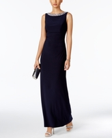 Alex Evenings Petite Embellished Cowl-Back Gown