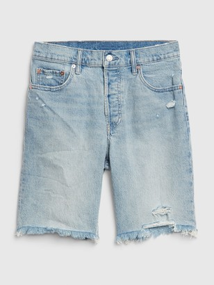 Gap High Rise Distressed Bermuda Shorts