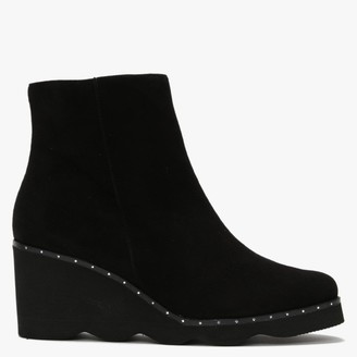 Daniel Mowall Black Suede Wedge Ankle Boots