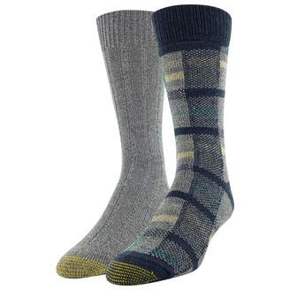 Gold Toe Men's Recycled Plaid Crew Socks 2 Pairs