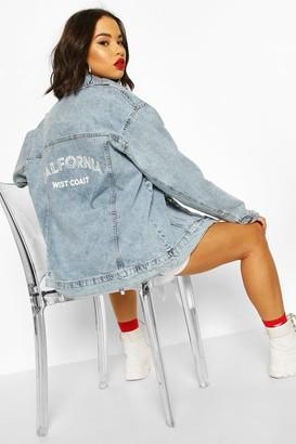 boohoo Slogan Oversized Denim Jacket