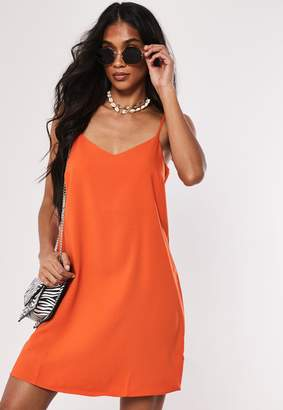 Missguided Orange Crepe Cami Shift Dress