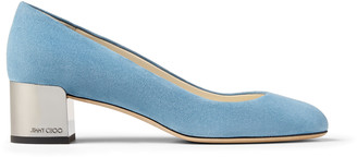 Jimmy Choo JESSIE 40 Dark Sky-Blue Suede Pumps with Metallic Block Heel
