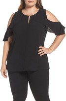 Vince Camuto Plus Size Women's Flutter Sleeve Cold Shoulder Blouse