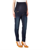 Times 2 Women's Denim Pants and Jeans Dark - Dark Wash Frayed-Hem Over-Belly Maternity Skinny Jeans