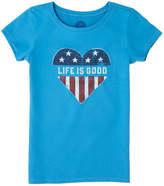 Life is Good Girls' Heart Flag Crusher T-Shirt