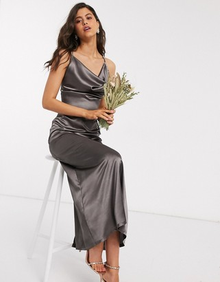 TFNC Bridesmaid satin maxi dress with cowl front in dove grey