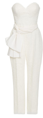 Carolina Herrera Bridal Lourdes Strapless Chantilly Lace Jumpsuit