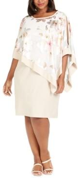 R & M Richards Plus Size Metallic Floral-Print Cape Dress