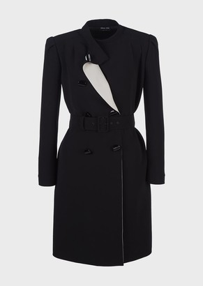 Giorgio Armani Belted, Double-Breasted Dress With Lapels