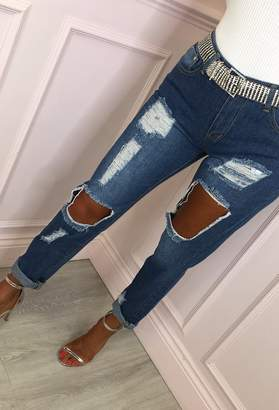 Pink Boutique Harper Blue Distressed Ripped Mom Jeans