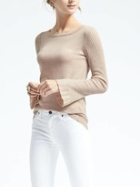 Banana Republic Italian Cashmere Blend Ribbed Sleeve Pullover