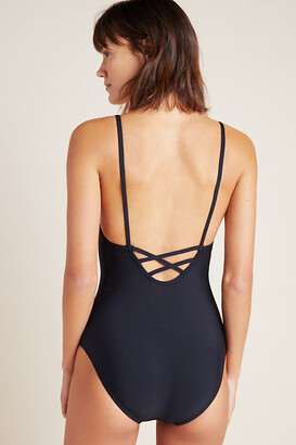 Anthropologie Square-Neck One-Piece Swimsuit By in Black Size S