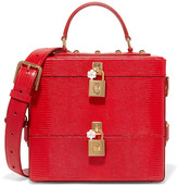 Dolce & Gabbana Embellished Glossed Lizard-effect Leather Vanity Case - Red