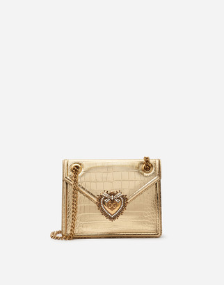 Dolce & Gabbana Medium Devotion Bag In Laminated Crocodile Print