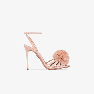 Aquazzura X Browns 50 pink 120 pom-pom leather sandals