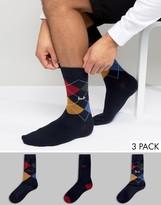 Pringle Waverley 3 Pack Gift Pack Socks Navy