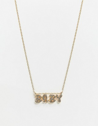 Topshop gold necklace with pave 'baby' slogan