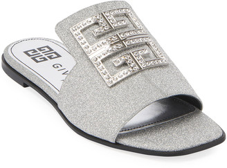 Givenchy 4G Flat Glitter Mule Sandals