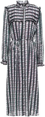 Jason Wu Ruffle-trimmed Checked Organza-jacquard Midi Dress