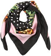 Dolce & Gabbana Pineapple & Polk Dot Silk Twill Scarf