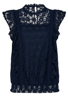 Dorothy Perkins Womens Navy Lace Ruffle Top