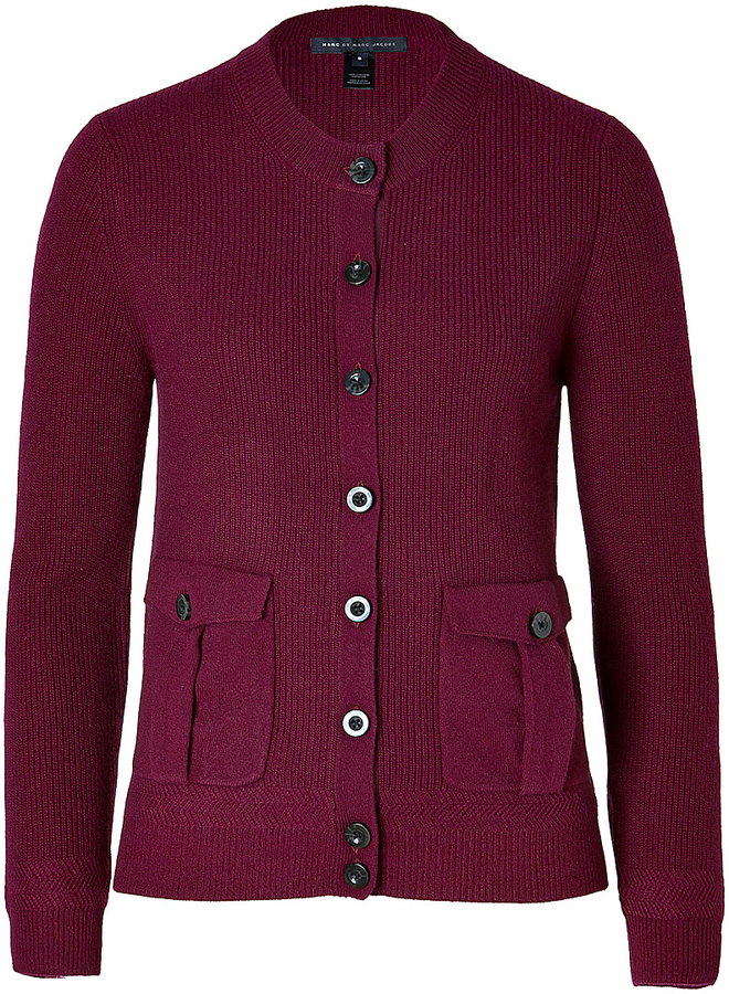 Marc by Marc Jacobs Cashmere Cardigan in Madder Carmine