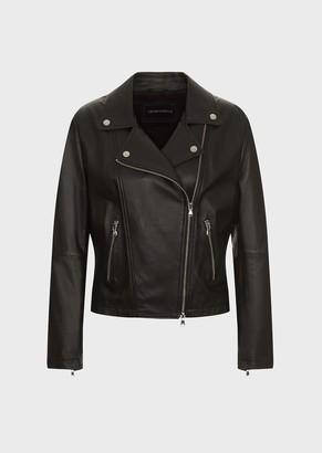 Emporio Armani Lambskin Nappa Leather Biker Jacket