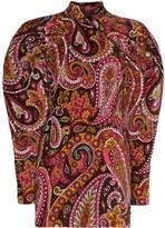 Rotate paisley pattern velvet mini dress