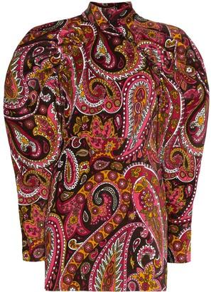 Rotate by Birger Christensen Paisley Pattern Velvet Mini Dress