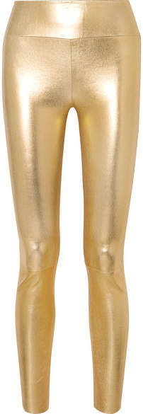 Sprwmn Metallic Leather Leggings - Gold