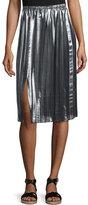 Etoile Isabel Marant Madlen Pleated Metallic Midi Skirt, Silver