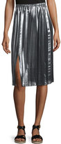 Isabel Marant Madlen Pleated Metallic Midi Skirt, Silver
