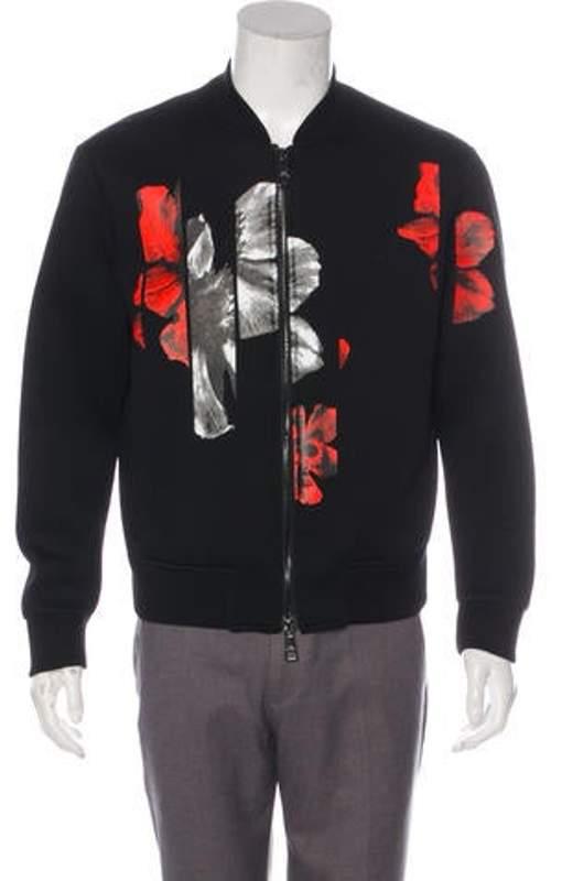 946a8c5da Floral Print Knit Bomber Jacket black Floral Print Knit Bomber Jacket