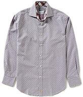 Thomas Dean Long-Sleeve Mini Check Dobby Woven Shirt