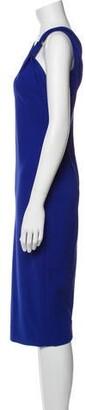Victoria Beckham V-Neck Midi Length Dress Blue