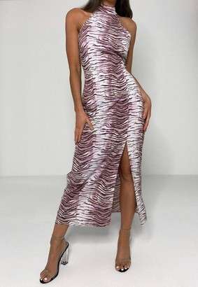 Missguided Petite Pink Zebra Print Midi Dress
