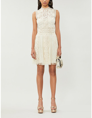 RED Valentino High-neck crochet and lace mini dress