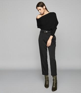 Reiss Lorna - Asymmetric Knitted Top in Black