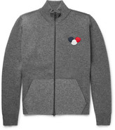 Moncler Maglione Appliquéd Stretch Wool-blend Zip-up Sweater