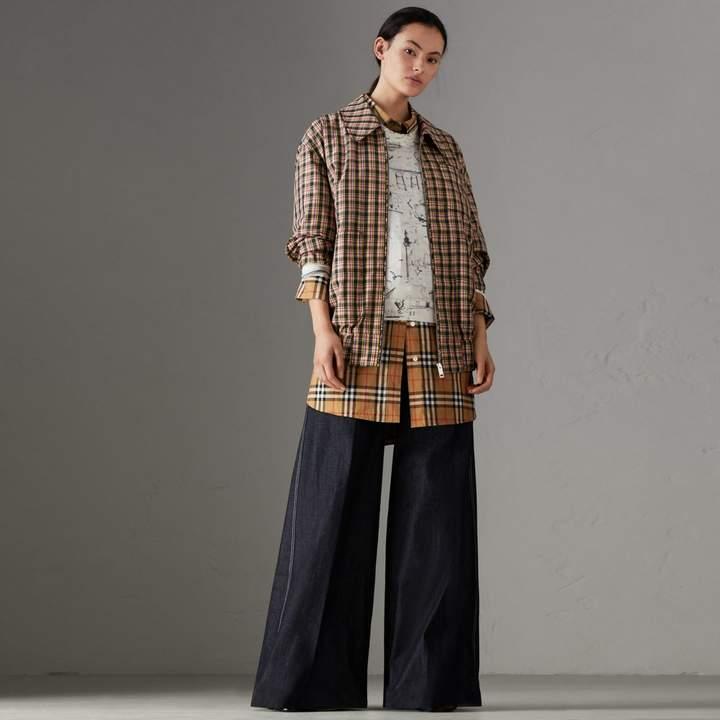 Burberry Stretch Japanese Denim Wide-leg Jeans , Size: 26, Blue